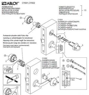 Инструкция по монтажу цилиндров Abloy CY001/CY002 на замок LC102