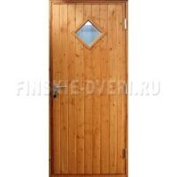 Деревянная входная дверь с квадратным стеклом