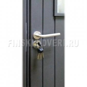 Дверь деревянная входная для дачи со стеклом Scandi 020