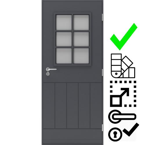 Входная деревянная дверь со стеклом Scandoors Easy 0201 Grid