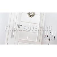 Дверь из массива сосны белая со стеклом N102