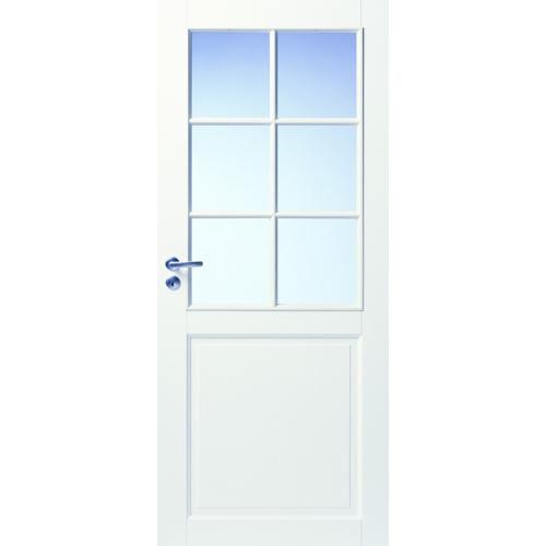 Дверь из массива сосны со стеклом финская